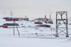 Horizonte de la ciudad en Longyearbyen, Spitsbergen (Svalbard) noruega Imagenes de archivo