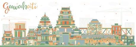 Horizonte de la ciudad de Guwahati la India con los edificios del color