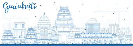 Horizonte de la ciudad de Guwahati la India del esquema con los edificios azules