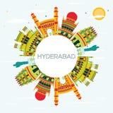 Horizonte de la ciudad de Hyderabad con los edificios del color y el espacio de la copia libre illustration