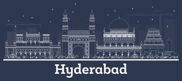 Horizonte de la ciudad de Hyderabad la India del esquema con los edificios blancos ilustración del vector