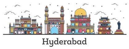 Horizonte de la ciudad de Hyderabad la India del esquema con los edificios del color aislados en blanco ilustración del vector