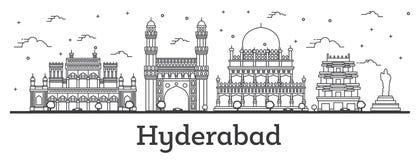 Horizonte de la ciudad de Hyderabad la India del esquema con los edificios históricos aislados en blanco libre illustration
