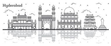 Horizonte de la ciudad de Hyderabad la India del esquema con los edificios históricos y reflexiones aisladas en blanco ilustración del vector