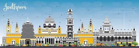 Horizonte de la ciudad de Jodhpur la India con los edificios del color y el cielo azul