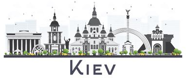 Horizonte de la ciudad de Kiev Ucrania con Gray Buildings Isolated en blanco libre illustration