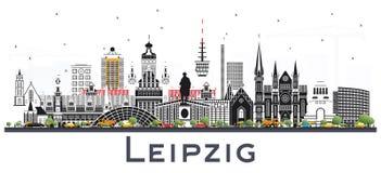 Horizonte de la ciudad de Leipzig Alemania con Gray Buildings Isolated en Whi