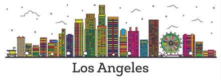 Horizonte de la ciudad de Los Ángeles California del esquema con los edificios del color ilustración del vector