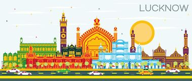 Horizonte de la ciudad de Lucknow la India con Gray Buildings y el cielo azul