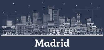 Horizonte de la ciudad de Madrid España del esquema con los edificios blancos ilustración del vector