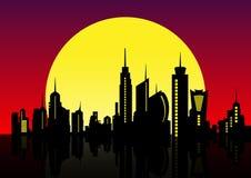 Horizonte de la ciudad de la noche El fondo del paisaje urbano, cielo nocturno hermoso con puesta del sol roja sobre edificios de ilustración del vector