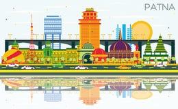 Horizonte de la ciudad de Patna la India con los edificios del color, el cielo azul y Refl ilustración del vector