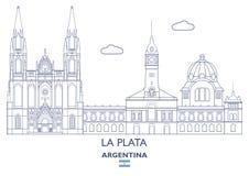Horizonte de la ciudad de La Plata, la Argentina stock de ilustración