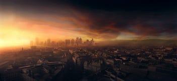 Horizonte de la ciudad, puesta del sol en Europa Imagen de archivo libre de regalías