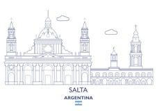 Horizonte de la ciudad de Salta, la Argentina ilustración del vector