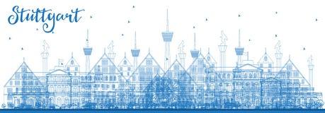 Horizonte de la ciudad de Stuttgart Alemania del esquema con los edificios azules