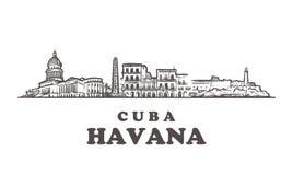 Horizonte de La Habana, ejemplo del vector del vintage de Cuba, edificios exhaustos de la mano ilustración del vector