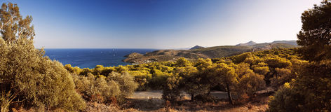 Horizonte de la isla de Aegina Imagen de archivo