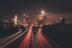 Horizonte de la medianoche de Atlanta Foto de archivo