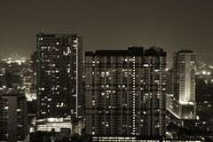 Horizonte de la noche de Bangkok Foto de archivo libre de regalías