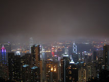 Horizonte de la noche de Hong-Kong Fotos de archivo libres de regalías