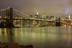 Horizonte de la noche de Nueva York Fotografía de archivo libre de regalías