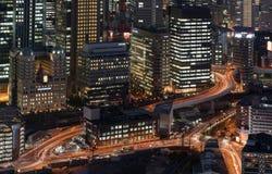 Horizonte de la noche de Osaka Imagen de archivo libre de regalías