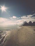 Horizonte de la playa con la arena y la perspectiva Imagen de archivo libre de regalías