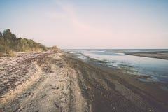 Horizonte de la playa con la arena y la perspectiva Fotos de archivo libres de regalías