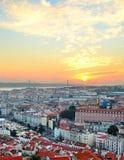 Horizonte de la puesta del sol de Lisboa, Portugal Fotografía de archivo libre de regalías
