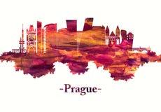 Horizonte de la República Checa de Praga en rojo libre illustration
