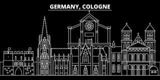 Horizonte de la silueta de Colonia Ciudad del vector de Alemania - de Colonia, arquitectura linear alemana, edificios Viaje de Co libre illustration