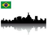 Horizonte de la silueta de Rio de Janeiro del vector ilustración del vector