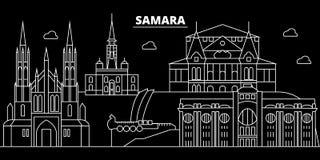 Horizonte de la silueta del Samara Rusia - ciudad del vector del Samara, arquitectura linear rusa, edificios Viaje del Samara libre illustration