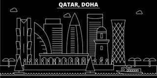 Horizonte de la silueta de Doha Ciudad del vector de Qatar - de Doha, arquitectura linear del qatari, edificios Ejemplo del viaje ilustración del vector