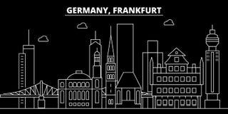 Horizonte de la silueta de Francfort Ciudad del vector de Alemania - de Francfort, arquitectura linear alemana, edificios Viaje d stock de ilustración