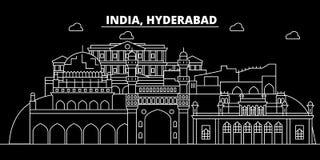 Horizonte de la silueta de Hyderabad Ciudad del vector de la India - de Hyderabad, arquitectura linear india, edificios Viaje de  stock de ilustración