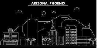 Horizonte de la silueta de Phoenix LOS E.E.U.U. - Ciudad del vector de Phoenix, arquitectura linear americana, edificios Viaje de ilustración del vector