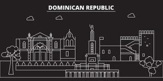 Horizonte de la silueta de la República Dominicana Ciudad del vector de la República Dominicana, arquitectura linear dominicana,  stock de ilustración