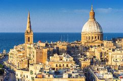 Horizonte de La Valeta, Malta imagen de archivo libre de regalías