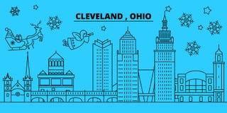 Horizonte de las vacaciones de invierno de Estados Unidos, Cleveland La Feliz Navidad, Feliz Año Nuevo adornó la bandera con Sant libre illustration