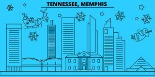 Horizonte de las vacaciones de invierno de Estados Unidos, Memphis La Feliz Navidad, Feliz Año Nuevo adornó la bandera con Santa  libre illustration