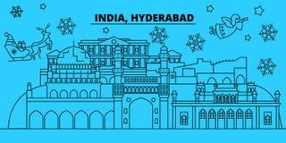 Horizonte de las vacaciones de invierno de la India, Hyderabad La Feliz Navidad, Feliz Año Nuevo adornó la bandera con Santa Clau stock de ilustración