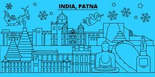 Horizonte de las vacaciones de invierno de la India, Patna La Feliz Navidad, Feliz Año Nuevo adornó la bandera con Santa Claus La ilustración del vector