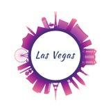 Horizonte de Las Vegas de la silueta con los edificios coloridos libre illustration