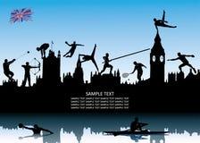 Horizonte de Londres con las siluetas del deporte Fotografía de archivo