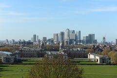 Horizonte de Londres, opinión marítima del museo de la colina de Greenwich Imagen de archivo