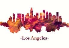 Horizonte de Los Angeles California en rojo ilustración del vector