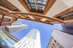 Horizonte de los edificios de highrise en Francfort Imagen de archivo libre de regalías