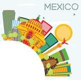 Horizonte de México con los edificios del color, el cielo azul y el espacio de la copia